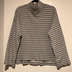 Madewell large grey striped turtleneck